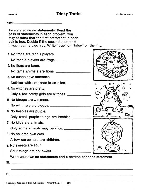 Worksheet Syllogism Worksheet primarily logic p33 lesson 23 tricky truths no statements