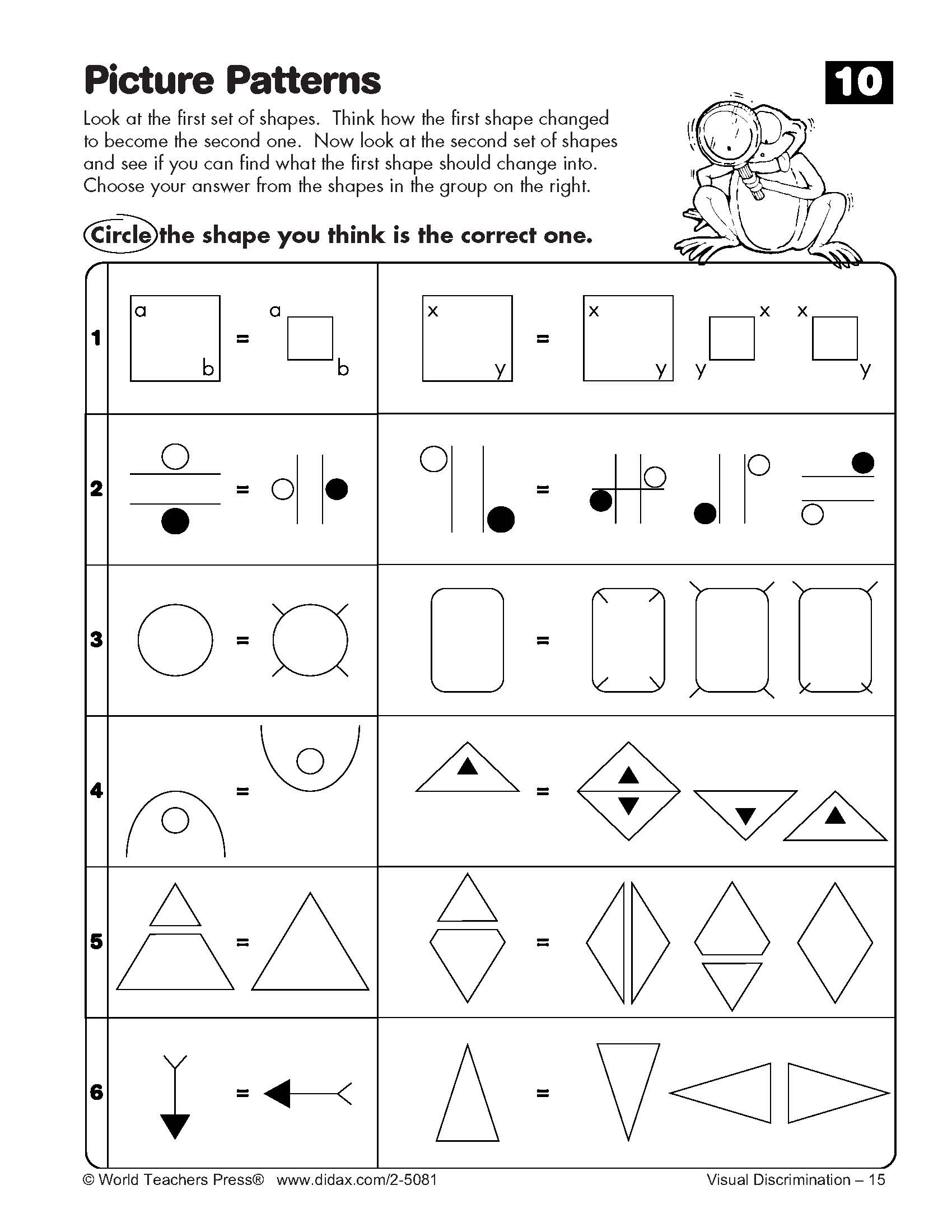 Worksheets Visual Discrimination Worksheets visual discrimination exploring and solving picture patterns p10